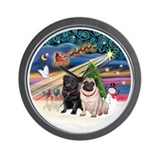 Xmas Magic - Pugs (TWO-fawn+Black) Wall Clock