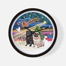 Xmas Magic - Pugs (TWO-fawn+Black) Wall Clock