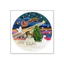"Xmas Magic - Shih Tzu Puppy Square Sticker 3"" x 3"""