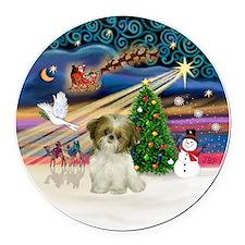 Xmas Magic - Shih Tzu Puppy (brow Round Car Magnet