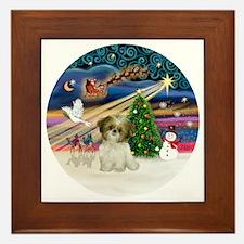Xmas Magic - Shih Tzu Puppy (brown-whi Framed Tile