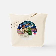 Xmas Magic - Shih Tzu Puppy (brown-white) Tote Bag