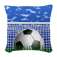 Soccer Goal and success Woven Throw Pillow