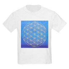 flower of life/gold on blue Kids T-Shirt