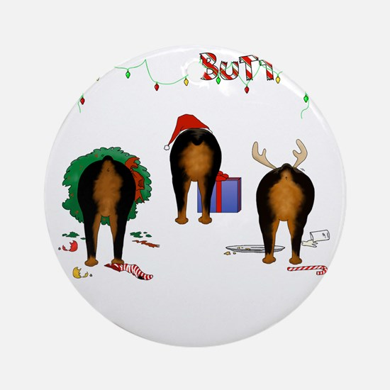 RottieShirtTrans Round Ornament