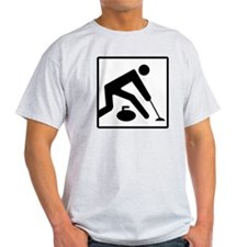 Curling Logo Ash Grey T-Shirt
