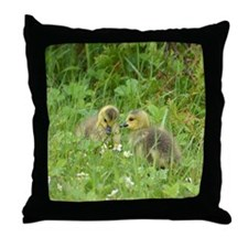 Goslings In Clover Throw Pillow