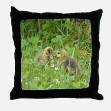Goslings In Clover Throw Pillow