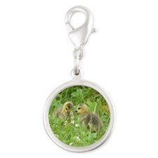 Goslings In Clover Silver Round Charm