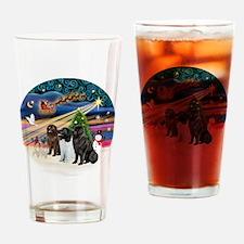 2-Xmas Magic - Newfoundland (THREE) Drinking Glass