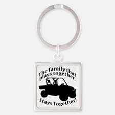 Family Plays BLACK Square Keychain