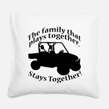 Family Plays BLACK Square Canvas Pillow
