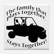 Family Plays BLACK Tile Coaster