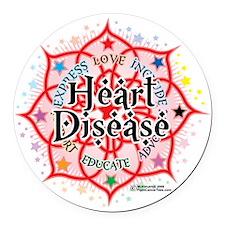 Heart-Disease-Lotus Round Car Magnet