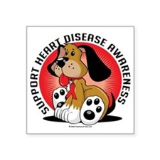 "Heart-Disease-Dog Square Sticker 3"" x 3"""