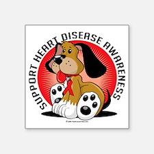 "Heart-Disease-Dog Square Sticker 3"" x 3"""