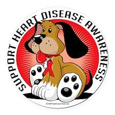 Heart-Disease-Dog Round Car Magnet