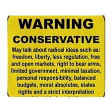WARNING CONSERVATIVE Throw Blanket