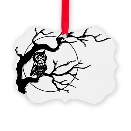 owl_tree_bw_top-trans Picture Ornament