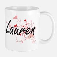 Lauren Artistic Name Design with Hearts Mugs
