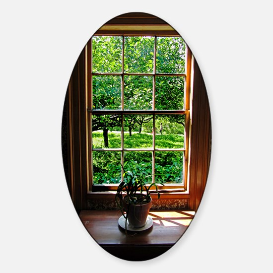 colonial Cottage Window 1 Sticker (Oval)