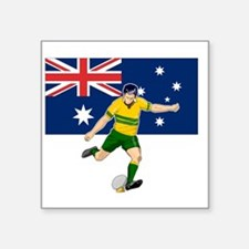 "Rugby player kicking austra Square Sticker 3"" x 3"""