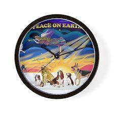 Xmas Sunrise - 5 dogs Wall Clock
