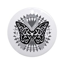 Parkinsons-Disease-Butterfly-Tribal Round Ornament
