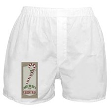 Country Rustic Burlap Candy Cane Boxer Shorts