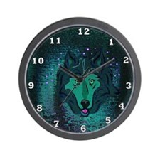 Teal Wolf Wall Clock