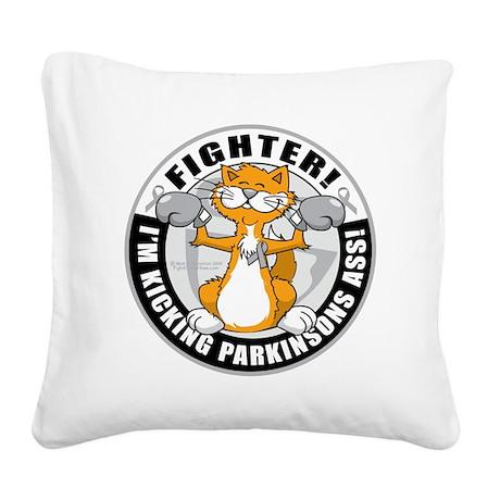 Parkinsons-Fighter-Cat Square Canvas Pillow