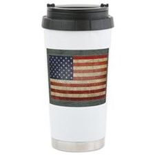 Distressed USA Flag Travel Coffee Mug
