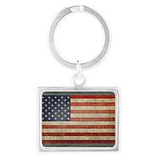 Distressed USA Flag Landscape Keychain