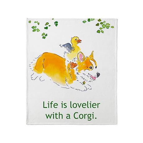 Lovelier with a Corgi Throw Blanket