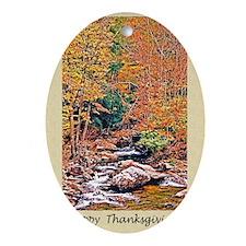 Happy Thanksgiving Autumn Sticker Oval Ornament