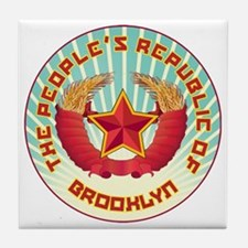 peoples republic brooklyn shirt dark Tile Coaster