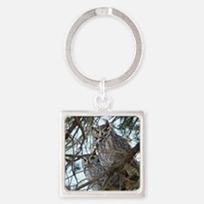 2-Owls-1 074 Square Keychain