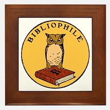 Bibliophile Seal (w/ text) dark Framed Tile