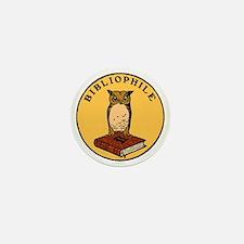 Bibliophile Seal (w/ text) dark Mini Button