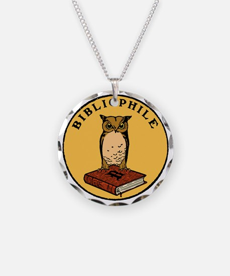 Bibliophile Seal (w/ text) d Necklace Circle Charm