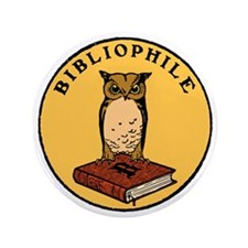 "Bibliophile Seal (w/ text) dark 3.5"" Button"