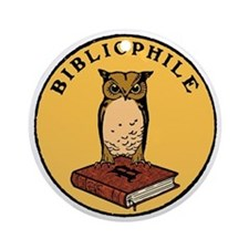 Bibliophile Seal (w/ text) dark Round Ornament