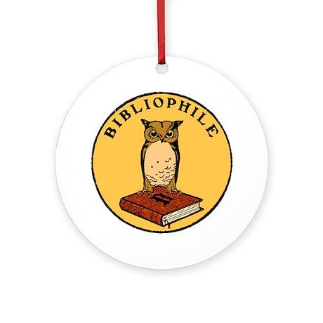 Bibliophile Seal (w/ text) dark Round Ornament