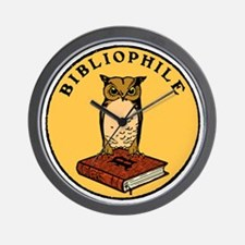 Bibliophile Seal (w/ text) dark Wall Clock