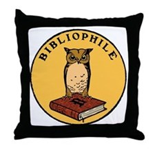 Bibliophile Seal (w/ text) dark Throw Pillow