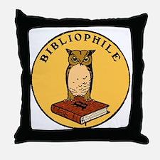 Bibliophile Seal (w/ text) dark Throw Pillow