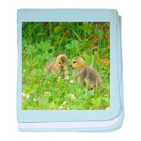 Goslings in clover baby blanket