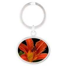 Tiger Lily Oval Keychain