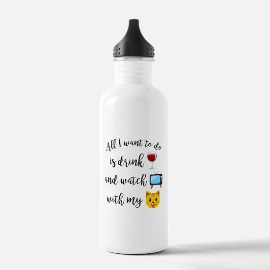 Drink Wine Cat Emoji Water Bottle