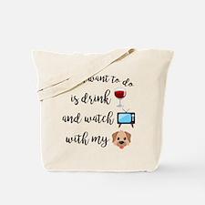 Drink Wine Dog Emoji Tote Bag